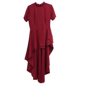 Red Short Sleeve High-Low Dress